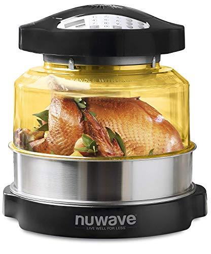 NuWave – Ofen Pro Plus | Wärmeleitungs-, Umluft- und Infrarotkocher, gesündere Mahlzeiten und flexibles Garen; heißluftfrittieren, backen, braten, grillen, dämpfen, anbraten, rösten und dörren Schwarz