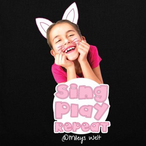 Spreadshirt Mileys World Sing Play Repeat Spruch Stoffbeutel Schwarz