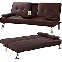 tinkertonk Modern Cinema Style 3 Seater Faux Leather Sofa Bed and Fold Down Drinks Holder Living Room Furniture (Brown)