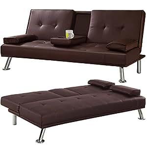 popamazing canap lit 3 places en similicuir avec table repliable int gr e et pieds chrom s. Black Bedroom Furniture Sets. Home Design Ideas