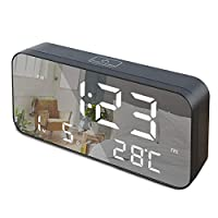 "LED Digital Alarm Clock, 9.6"" Large Display Alarm Clocks for Bedrooms with USB Charging Port and Battery Backup, Temperature, Date, Snooze, Adjustable Brightness, 12/24Hr, Simple Operation (Black)"