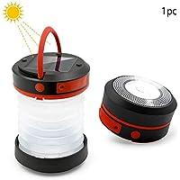 Luz solar retráctil para acampar, cargador móvil USB para exteriores, funciona con energía solar