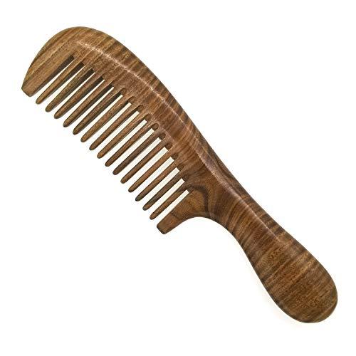 ERZA Haarkamm aus natürlichem Sandelholz, ohne Verheddern, Grün