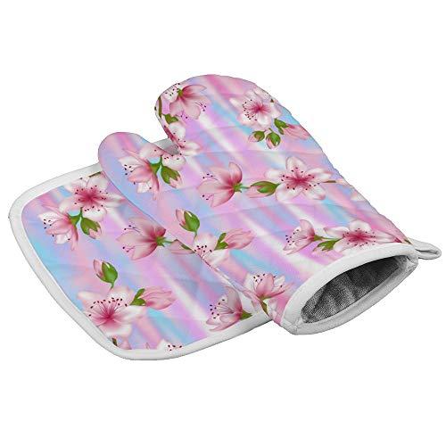 Desconocido Novelty Glove - Guantes de algodón para Horno, diseño de Flores de Cerezo japonés, sin...
