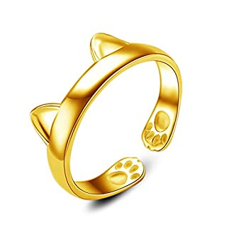 INNERSO Women's 925 Sterling Silver Gold Rings Simple Cute Cat Design Opening Finger Ring Dragon Cat Rings Gothic Genuine Evening Party Knuckle Ring - Gold
