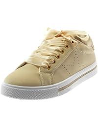 Angkorly Scarpe Moda Sneaker Tennis Sporty Chic Donna Lacci in Raso  Paillette Stella Tacco Tacco Piatto 2b7d954eb2c
