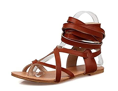 NobS Flip Flop Straps Boots Flat Open Toe Grande taille Sandales 33-48 Flats Women Roman Shoes , brown , 34