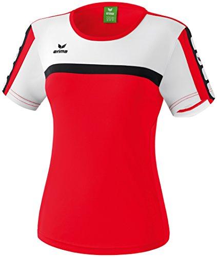 Erima Classic 5-Cubes T-Shirt Femme Rouge/Blanc/Noir