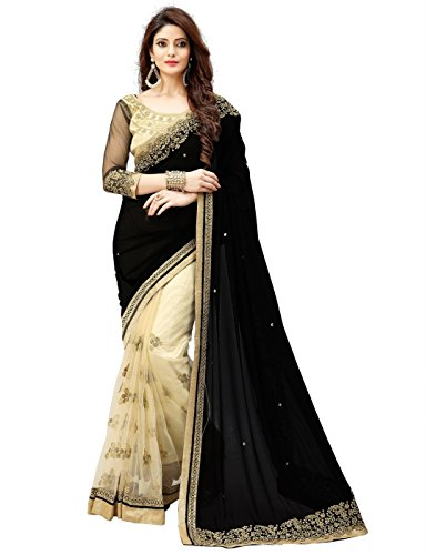 Saree By Saree Mandir Women\'s Velvet & Net Saree With Blouse Piece (P_Black & Cream)