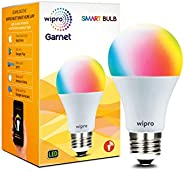 Wipro WiFi Enabled Smart LED Bulb E27 9-Watt (16 Million Colors + Shades of White) (Compatible with Amazon Ale