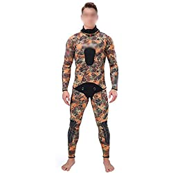 UICICI Combinaison Professionnelle de Chasse Costume 3mm Camouflage Camouflage Scission scaphandre de plongée à Capuche Coupe Chaude Combinaison de Poisson (Couleur : Camouflage, Size : L)