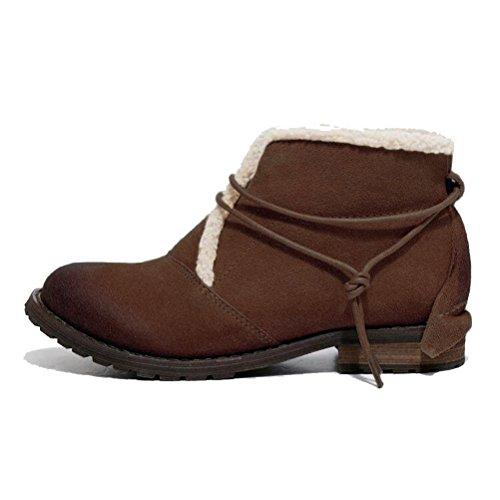 MatchLife Damen Leder Martin Boots Schuhe Style1-Kaffee-Fleece