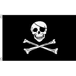 Bandera pirata grande con calavera, 243,84 x 152,4 cm.