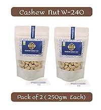Nutvilla Cashew nut/Kaju (2 Packs of 250g Each) Premium Quality W-240