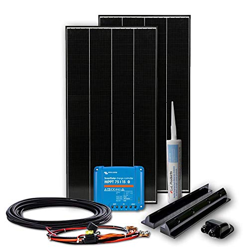 WATTSTUNDE BLACK LINE 220W Set mit Victron MPPT Laderegler - Wohnmobil Solaranlage im Komplettset mit 2x 110W Schindel Zellen Modul (220W)