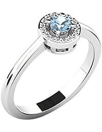 His & Her 18KT White Gold, Diamond And Sapphire Ring For Women - B07B28TLTL