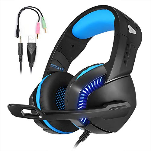 Auriculares gaming ps4,Xbox One Surround Sound Auriculares envolventes 7.1, Auriculares PS4 con micrófono y luz LED, Compatible con PC, Laptop, PS4, Controlador Xbox One Azul