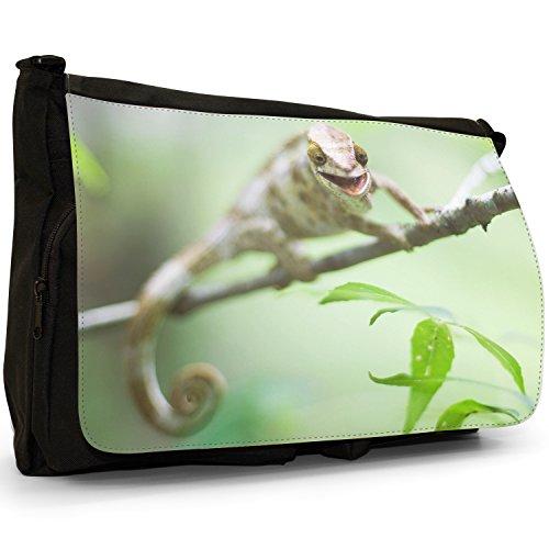 Lucertole Del Mondo–Borsa Tracolla Tela Nera Grande Scuola/Borsa Per Laptop Smiling Laughing Chameleon