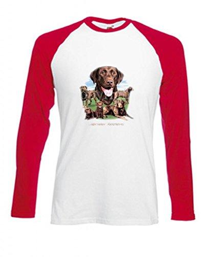 Erwachsene Schokolade Tee T-shirt (Einfach Tees Schokolade Labrador Retriever Collection Erwachsene Long Sleeve Baseball T-Shirt Gr. XX-Large, Weiß/Rot)
