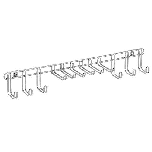 InterDesign Classico Portacinture/Cravatte da Muro Metallo Argento 38x7.5x5.5