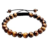 Jovivi 8MM Natural Stone Gemstones Healing Energy Crystal Elastic Beaded Bracelets, Handmade Macrame Adjustable (Yellow Tiger Eye with Black Rope)