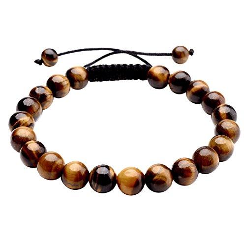 JOVIVI 8mm-Bracelet Réglable Tressé à la Main en Pierre Oeil de Tigre Jaune Perles d'Energie Pierre Précieuse Extensible Elastique Tibétain Bouddhiste Unisexe