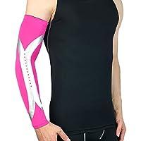 TZTED Deporte Calentadores Running Brazo Mangas De Brazo Transpirable Protección UV Manguitos Ciclismo Calentadores Brazos Deportivos 7 Colores,Pink,XL