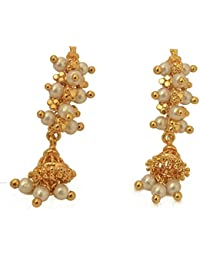 Radha's Creations Golden And Pearl Studs With Jhumki Hangings One Gram Gold For Women And Girls