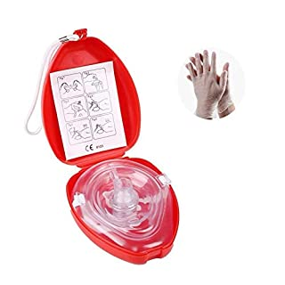 CPR MASK CPR RESUSCITATION FACE MASK CPR POCKET MASK (1 Pack CPR FACE SHIELD with Disposable Sanitary Gloves)