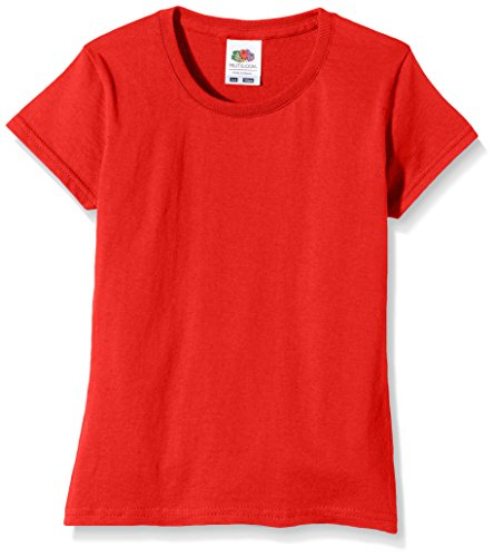 Fruit of the Loom Mädchen Softspun T-Shirt - 10 Farben / Ages 3-15 Ja - Red - 34