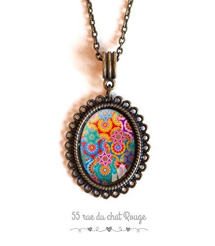 Oval Cabochon Halskette, bunt, multicolor, böhmischen Chic Hippie, Boho, mexikanischen Stil, Modeschmuck, Weihnachtsgeschenk-Idee