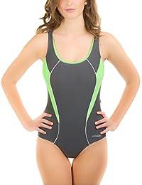 AQUA-SPEED - La competencia del traje de baño Bañador - PERFECT FIT Sylwia 443 (Negro/Gris/Verde claro, 38)