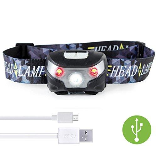 USB Wiederaufladbare LED Stirnlampe Wasserdicht, Weiß/Rot/SOS-Leuchtmodi, LED-Scheinwerfer Ideal für Camping, Joggen, Jagd und Lesen - Not Just A Gadget