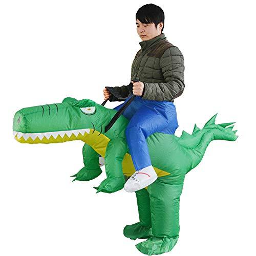 Dinosaurier Herren Kostüm - thematys Aufblasbares grünes Dinosaurier Reiter Kostüm - Lustiges Luftkostüm für Erwachsene 165cm-185cm - Perfekt für Karneval, Junggesellenabschied oder Halloween