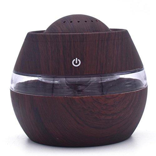 STRIR 300ml Humidificador Aromaterapia Ultrasónico,Difusor de Aceites Esenciales, 7-Color LED,Seguro y Elegante, purificar el Aire y mejorara el Aire seco (Marrón)