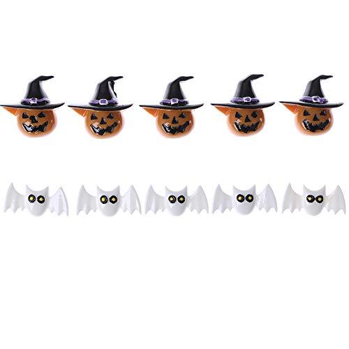 Haishell 10 Stück Harz Flatback Flatback Halloween Craft Verzierungen Zauberer Kürbis Laterne Geister Spider Skull Fledermaus Katze für Handy Dekoration DIY Supplies Typ 5
