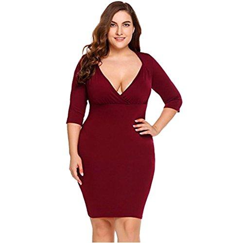 OverDose vestidos mujer manga larga de fiesta de noche profundo V talla grande L-XXXXL