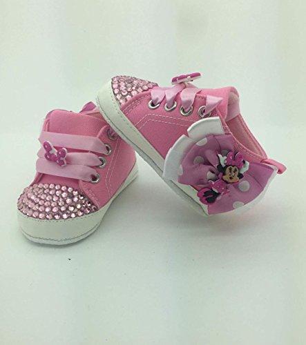 Individuell Baby Mädchen Minnie Maus Schuhe Größe 6/9Monate ca. Kinderbett Kinderwagen Romany Kristall Bling Strass Diamant Bling. First (Schuhe Minnie Maus)
