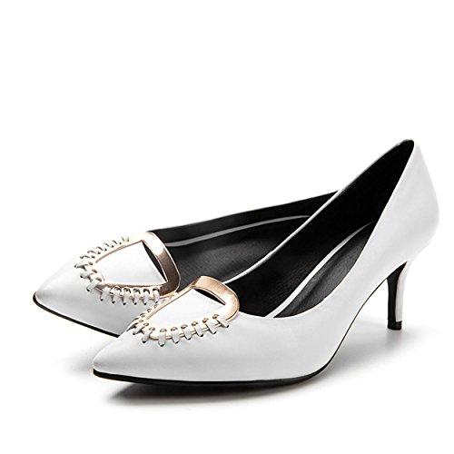 WSS chaussures à talon haut Talons de chaussures de haut talon pointé asakuchi métal Europe déodorant mode chaussures en cuir White