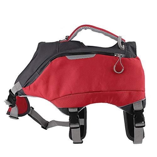 Pssopp 2 in 1 Hunde Rucksack Hunderucksack Schultertasche verstellbar Pack Satteltasche Atmungsaktiv Wandern Camping Hundetasche für Mittlere und Große Hunde(M)