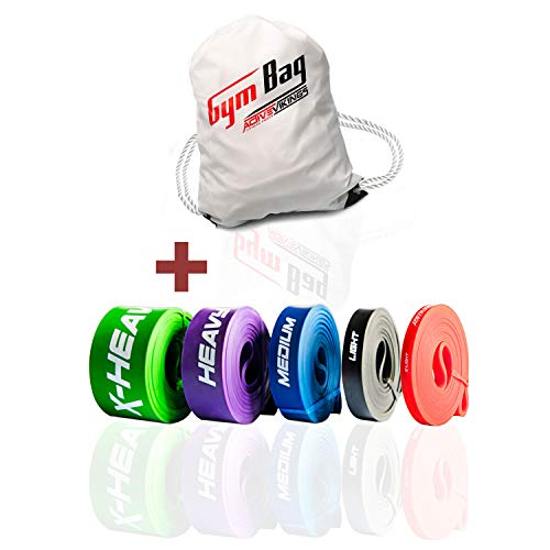 ActiveVikings® Pull-Up Fitnessbänder | Perfekt für Muskelaufbau und Crossfit Freeletics Calisthenics | Fitnessband Klimmzugbänder Widerstandsbänder (F - Full Package (Komplett Set + Gym Bag))