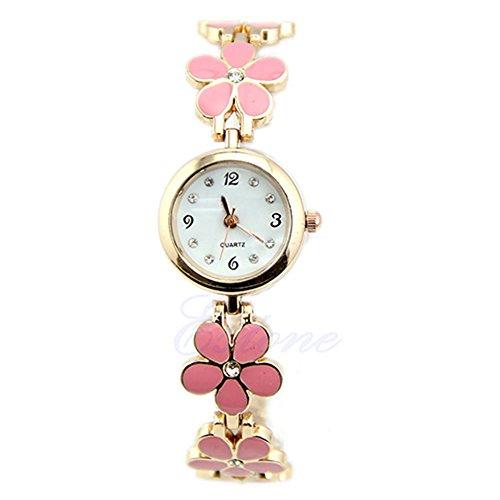 Broadfashion Broadfashion Damen Mädchen Uhr Uhren Mode Gänseblümchen Rose Blume goldenen Armband Armbanduhr