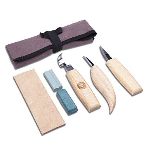 SAKUUMI - Juego de 6 cuchillos de madera para tallar con bolsa de lona portátil, ideal para carpintería