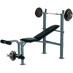 Banco de Musculación Banco de Pesas Maquina de Fitness Entrenar Musculos 165x68x114cm con Respaldo Regulable Espuma