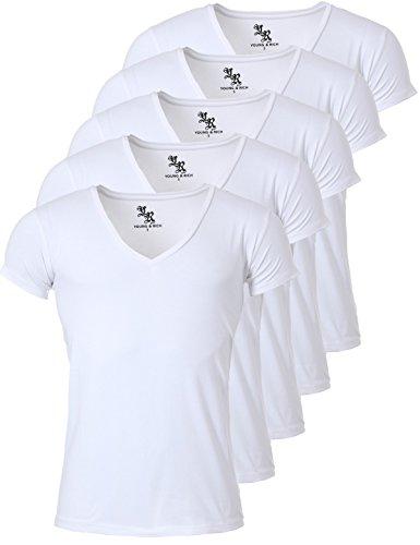 Young&Rich Herren Uni T-Shirt mit Extra Tiefem V-Ausschnitt Slimfit Stretch Dehnbare Passform Einfarbiges Basic Shirt - 5er Pack, Grösse:L, Farbe:Weiß -