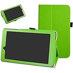 """ARCHOS 70 Oxygen Coque,Mama Mouth Slim Folio PU Cuir debout Fonction Housse Coque Étui Couverture pour 7"""" ARCHOS 70 Oxygen Android 6.0 Tablet PC,Vert"""