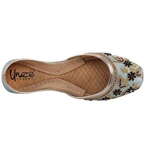 Unze Neue Frauen Traditional 'Achat' Handgefertigte gestickte Leder flache indische Khussa Pumpe Hausschuhe Schuhe Größe 3-8 - Un-12 Himmelblau