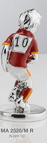 Statuina giocatore calcio squadra roma h.cm 10 smaltata laminato argento made in italy con scatola