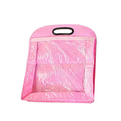 Vinyl Schuh Organizer (Handtaschen-Staubschutz, transparent, zum Aufhängen von Kleiderschränken, wasserdichte Geldbörse, Organizer, für Lederhandtaschen, Schuhe, Gürtel, Handschuhe, Zubehör, rosa)