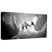 "Black & White Love Kiss Abstract Art on CANVAS WALL ART Picture Print A4 A1 A2 (40"" x 25"")"